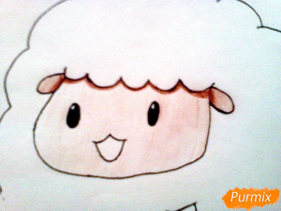 Рисуем милого барашка ребенку карандашами - шаг 6