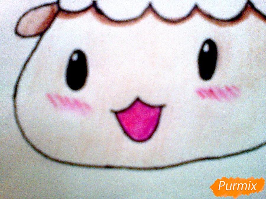 Рисуем милого барашка ребенку карандашами - шаг 7
