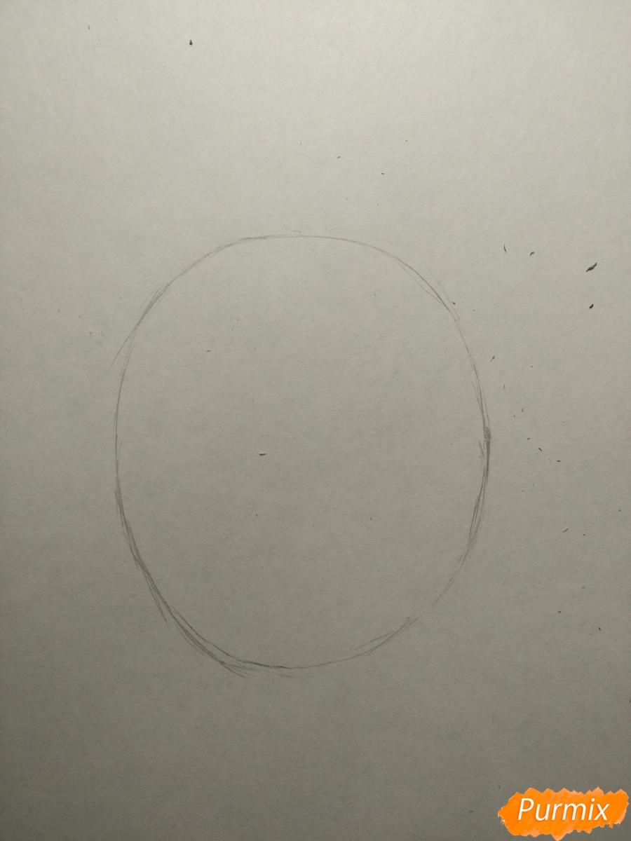Рисуем попугайчика для ребенка карандашами - шаг 1
