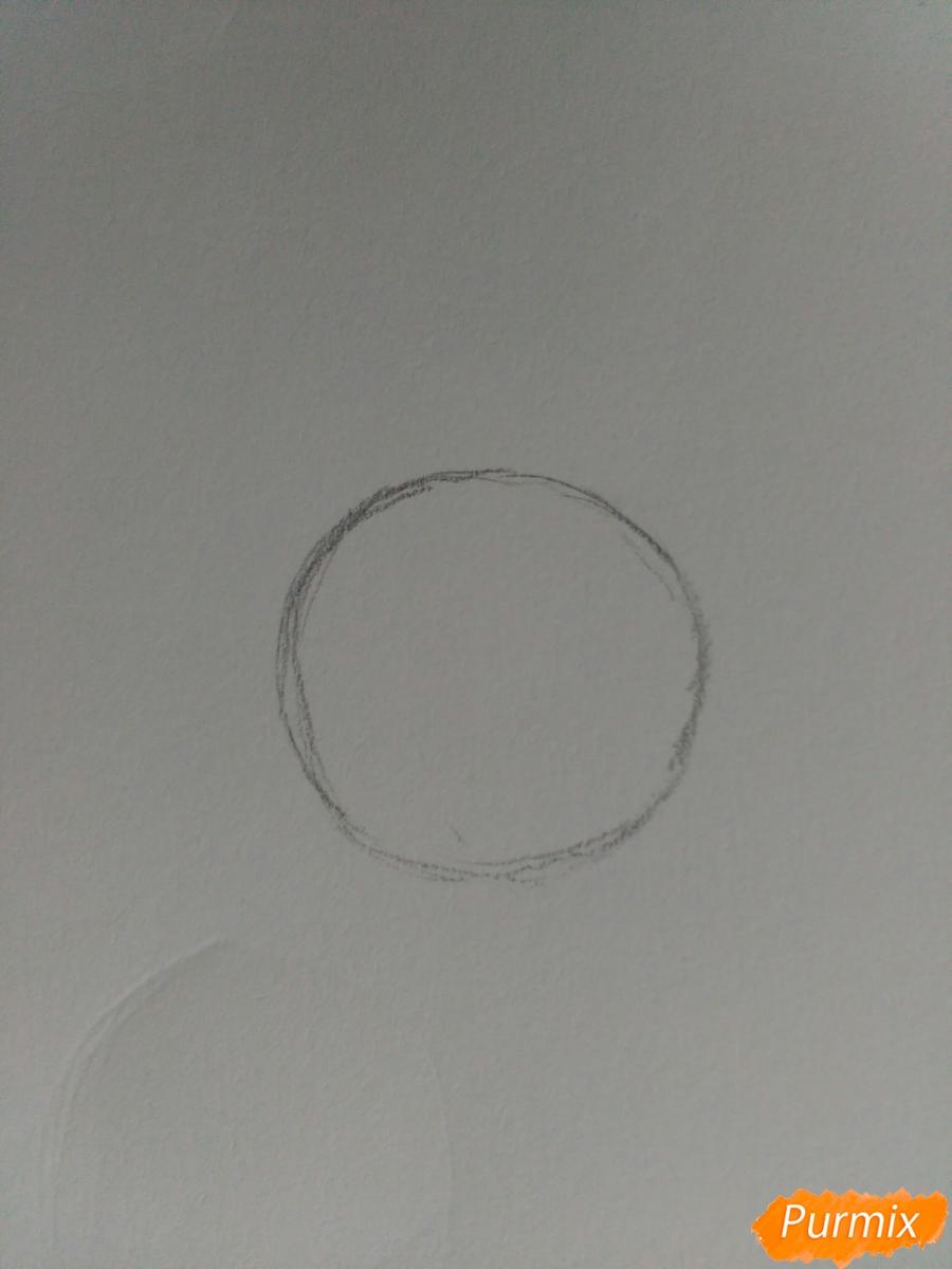 Рисуем птенца в очках цветными карандашами - шаг 1