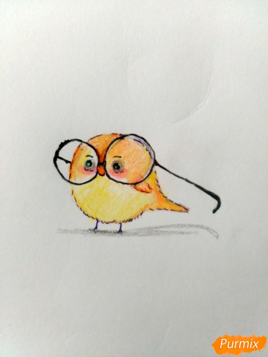 Рисуем птенца в очках цветными карандашами - шаг 4