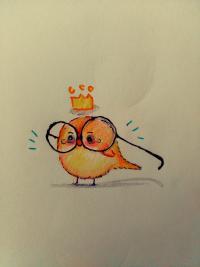 Фото птенца в очках цветными карандашами