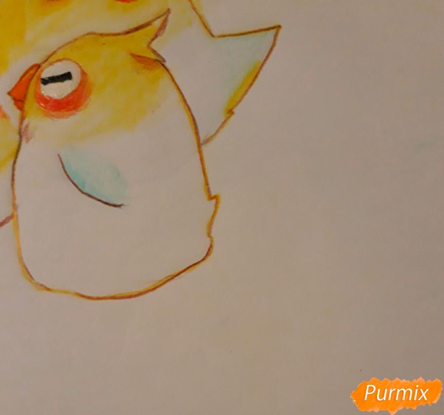 Рисуем трех милых попугайчиков карандашами - шаг 10