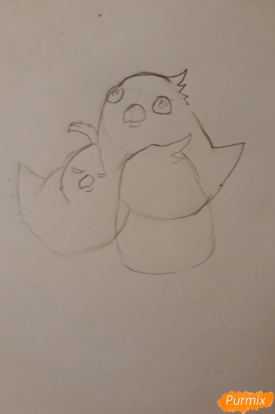 Рисуем трех милых попугайчиков карандашами - шаг 6