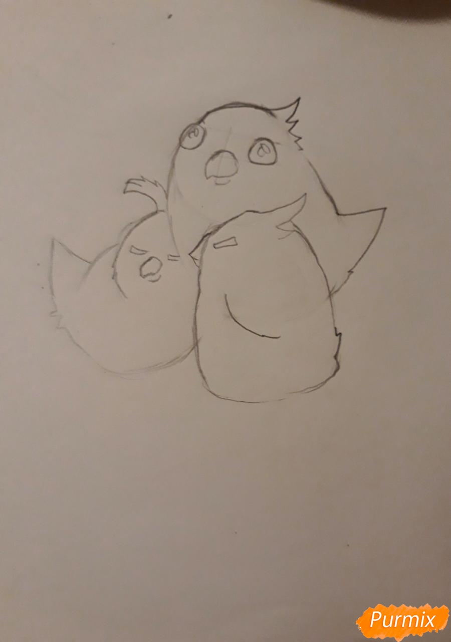 Рисуем трех милых попугайчиков карандашами - шаг 7