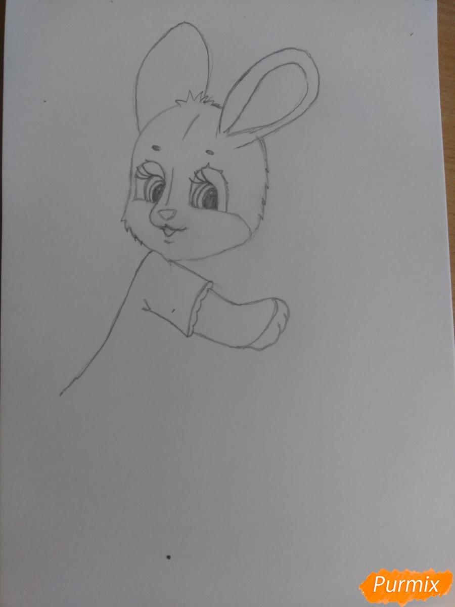 Рисуем зайку с морковкой ребенку - шаг 10