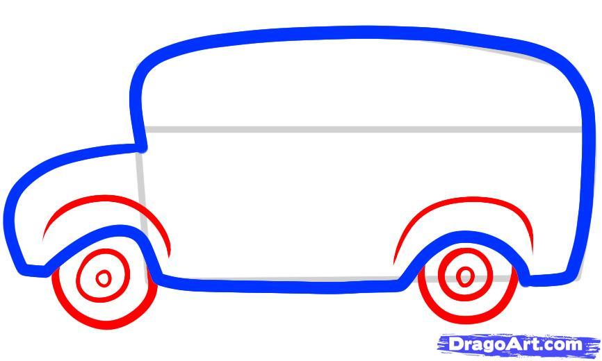 Рисуем автобус ребенку - шаг 3