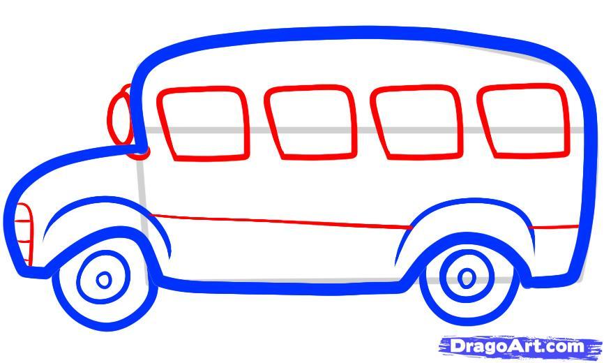 Рисуем автобус ребенку - шаг 4