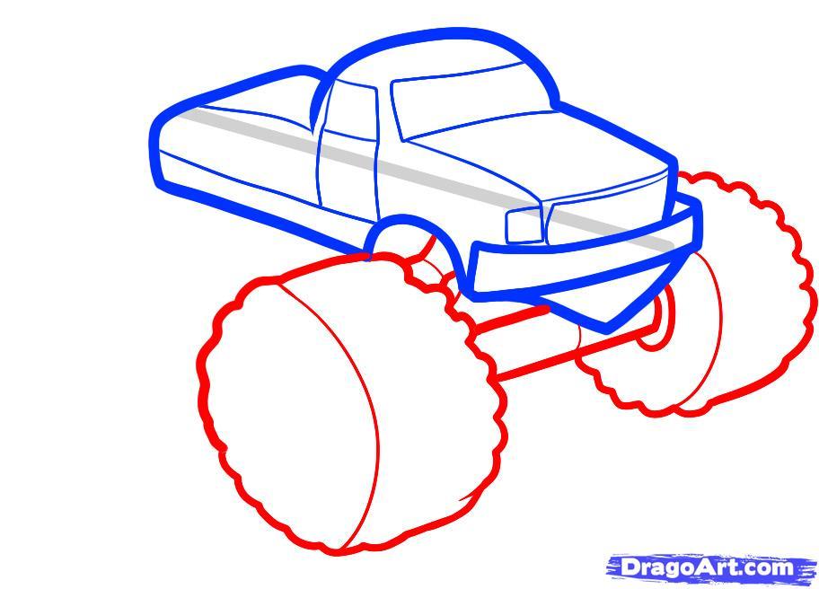 Рисуем машину монстр трак ребенку - шаг 4