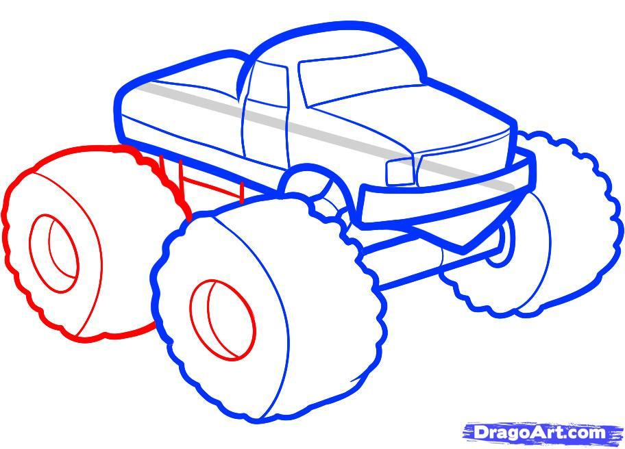 Рисуем машину монстр трак ребенку - шаг 5