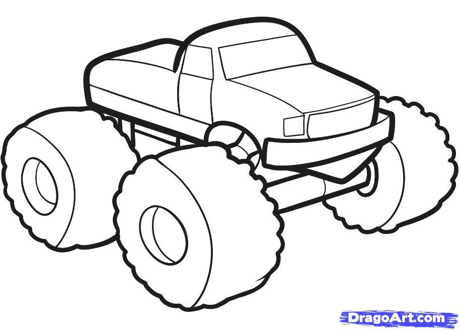 Рисуем машину монстр трак ребенку - шаг 6