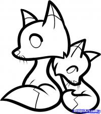 двух лисичек ребенку карандашом