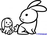 двух маленьких кроликов ребенку карандашом
