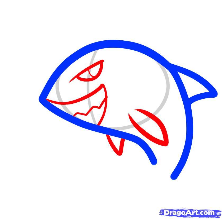 Рисуем двух акул ребенку - шаг 3