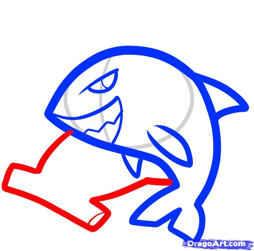 Рисуем двух акул ребенку - шаг 5