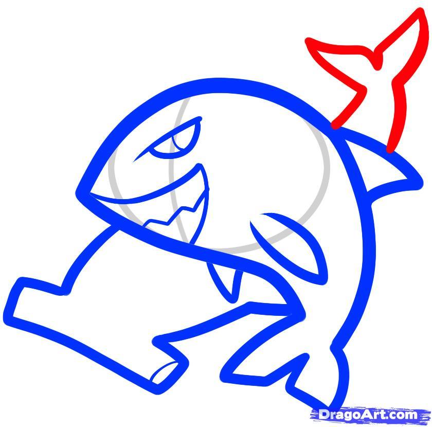 Рисуем двух акул ребенку - шаг 6