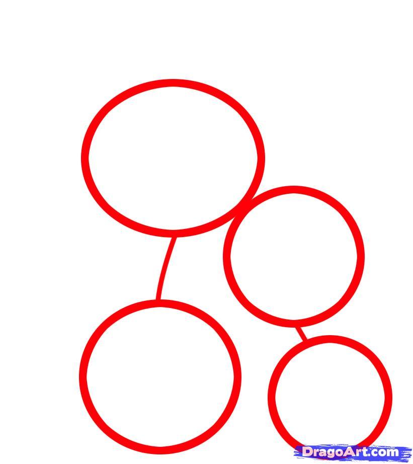 Рисуем двух лисичек ребенку - шаг 1