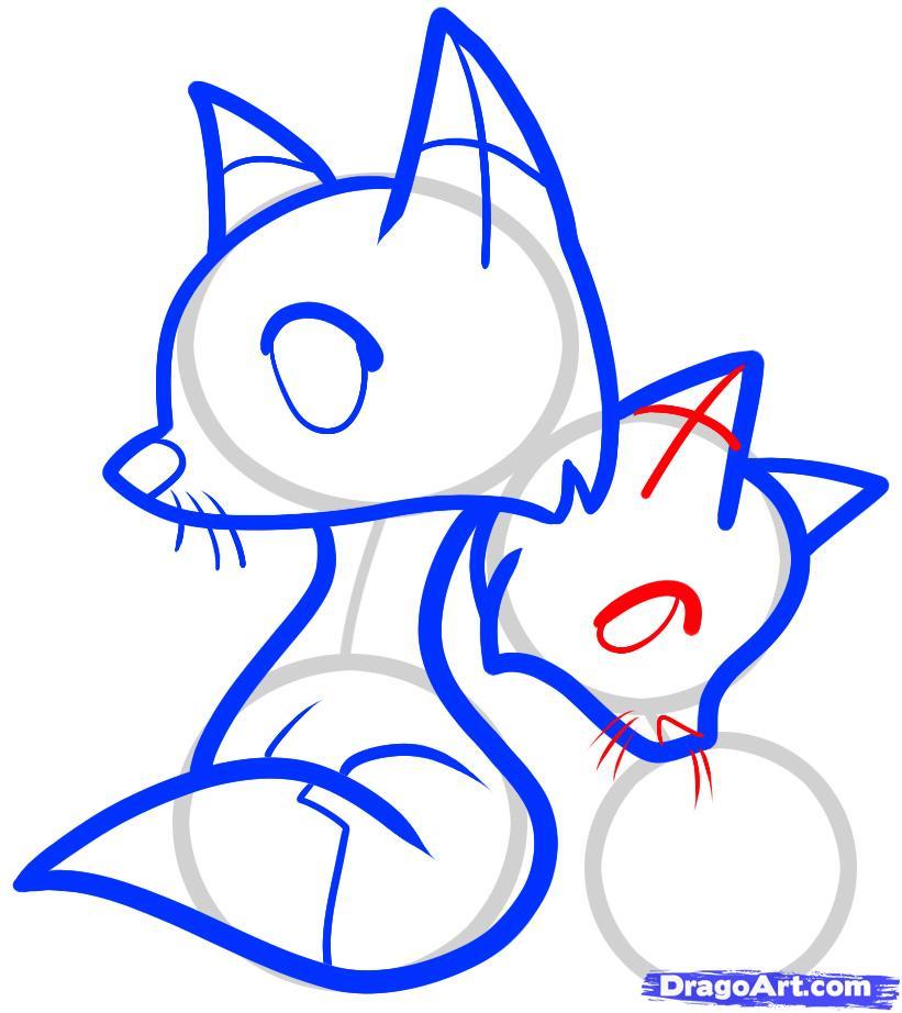 Рисуем двух лисичек ребенку - шаг 7