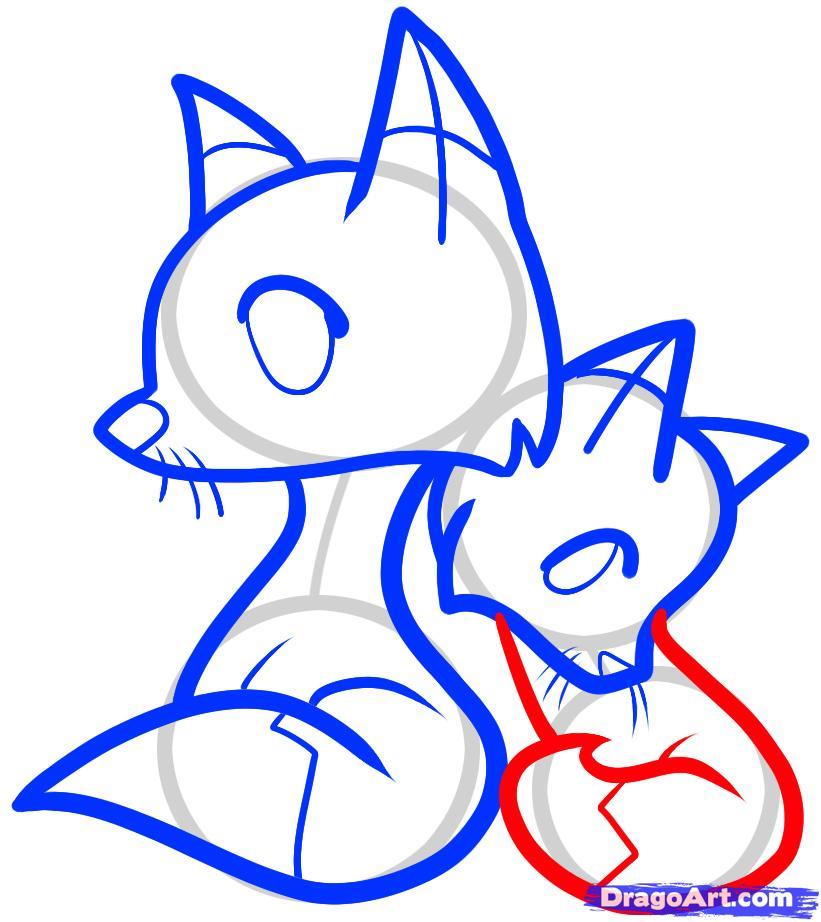 Рисуем двух лисичек ребенку - шаг 8