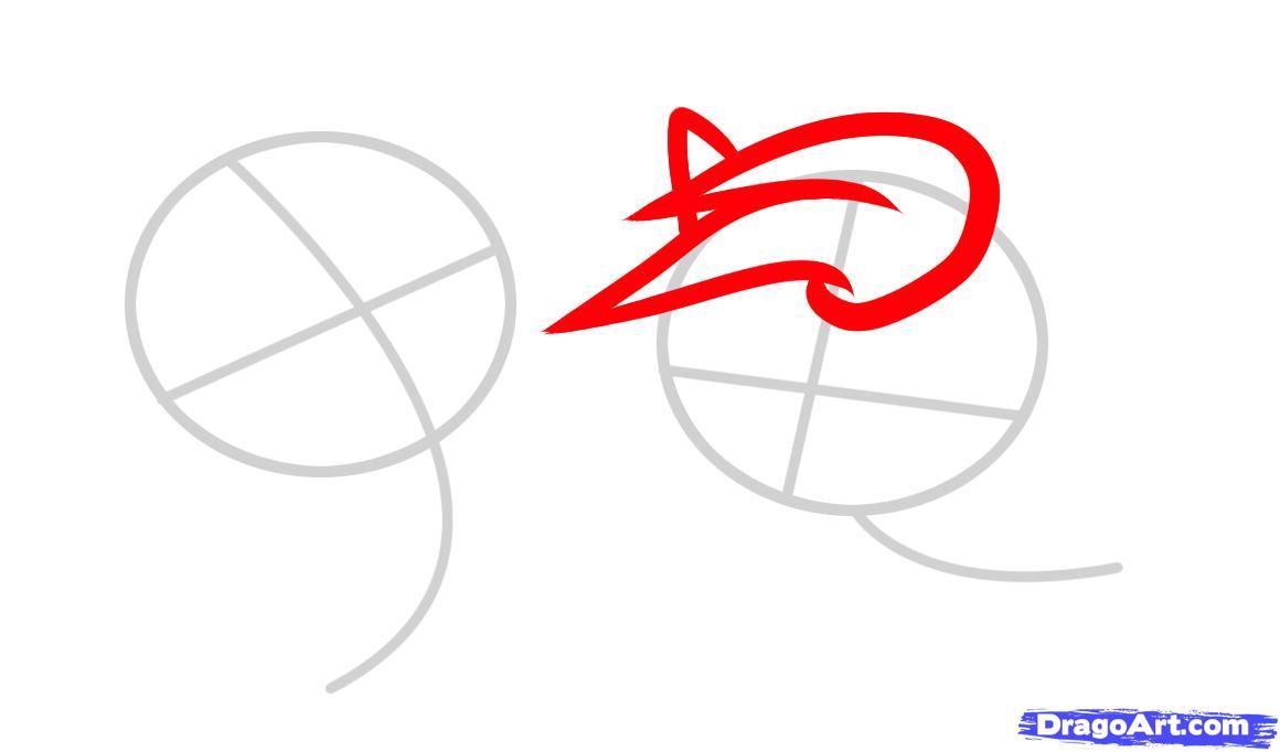 Рисуем двух маленьких лошадок - шаг 2