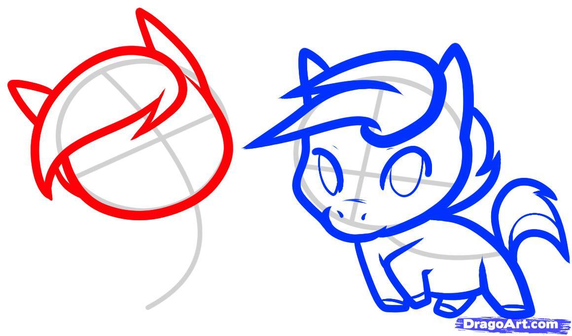 Рисуем двух маленьких лошадок - шаг 6