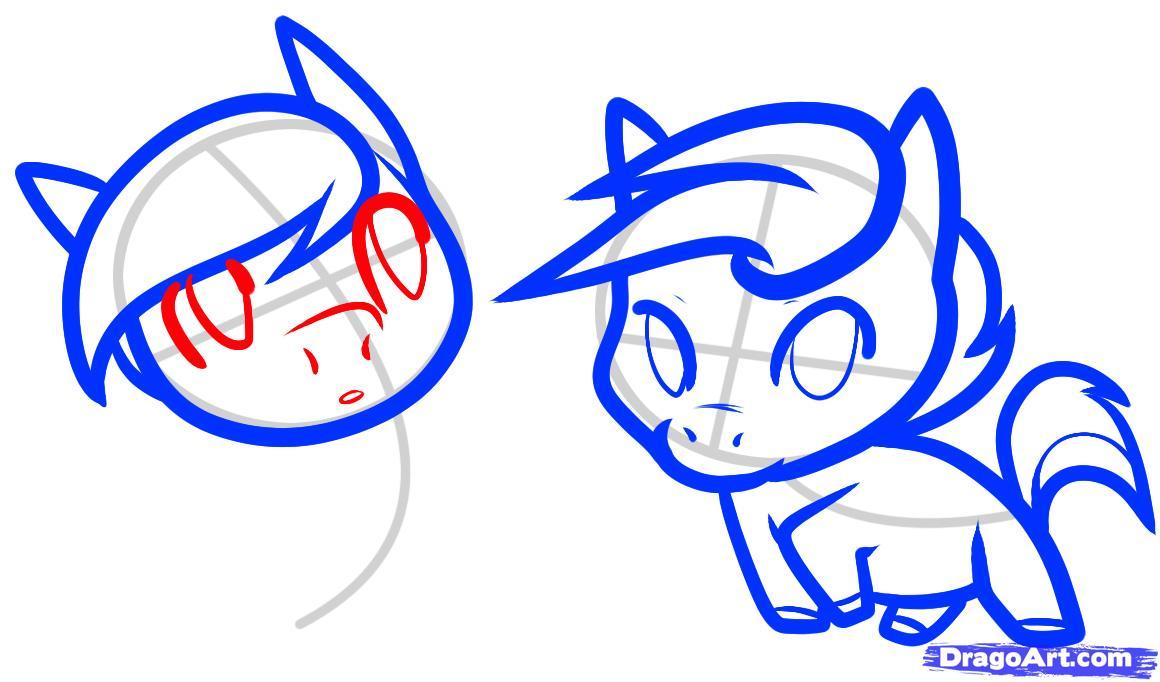 Рисуем двух маленьких лошадок - шаг 7