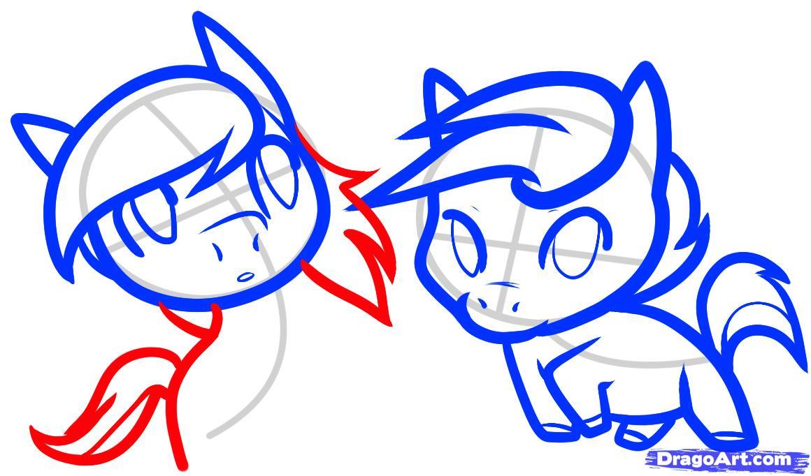 Рисуем двух маленьких лошадок - шаг 8