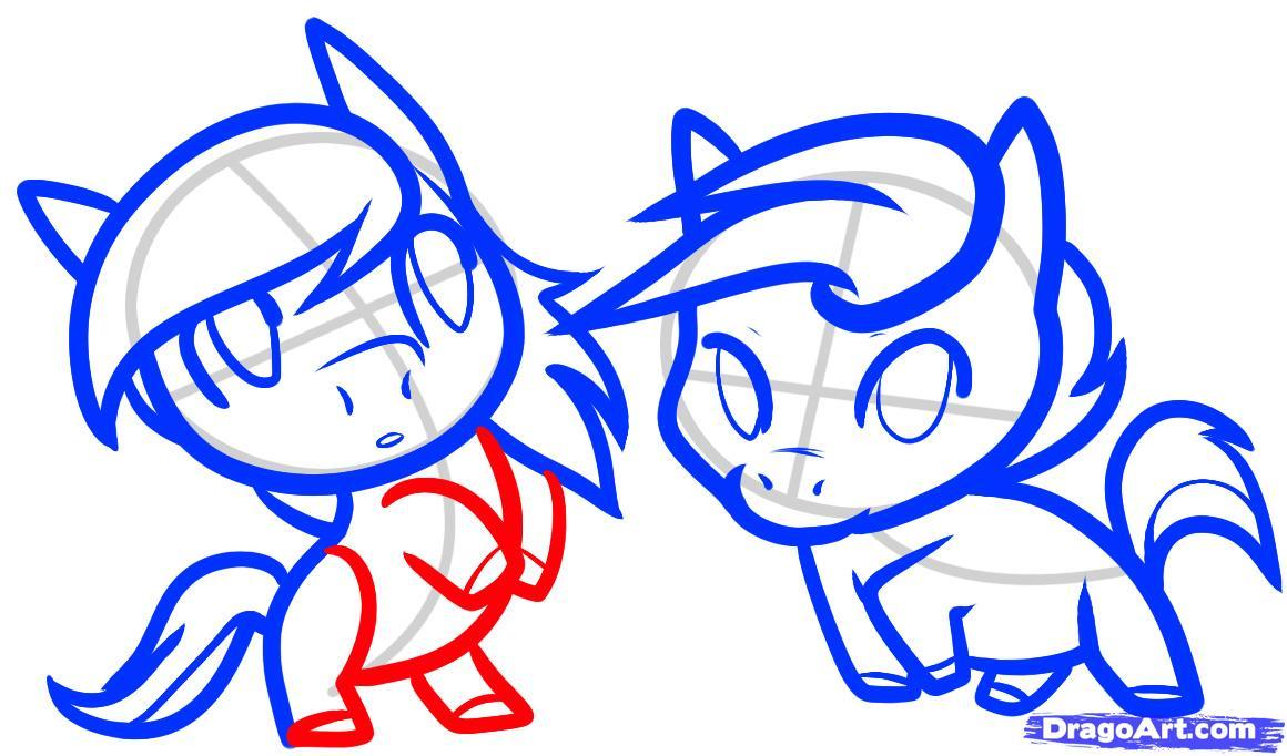 Рисуем двух маленьких лошадок - шаг 9