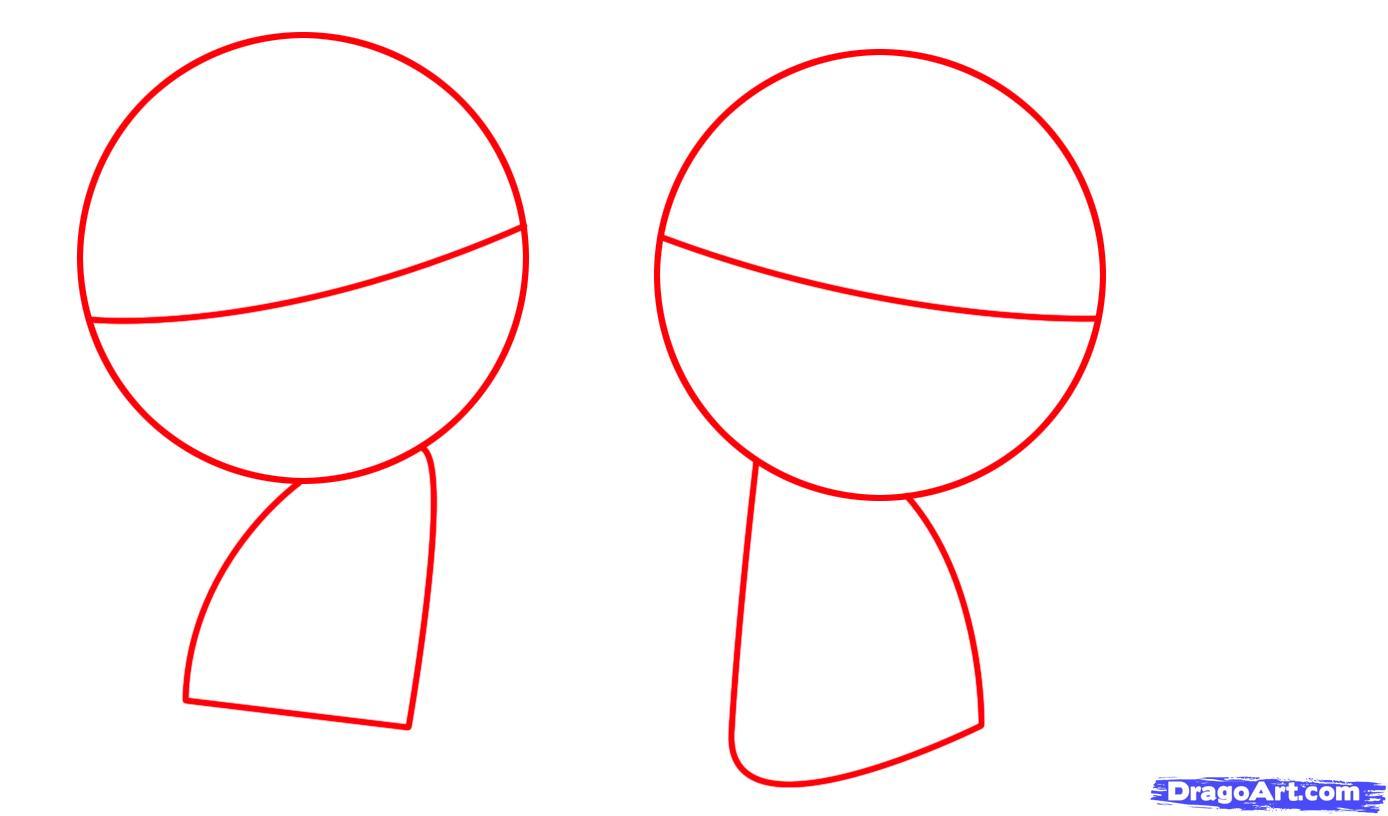 Рисуем двух маленьких обезьянок для детей - шаг 1
