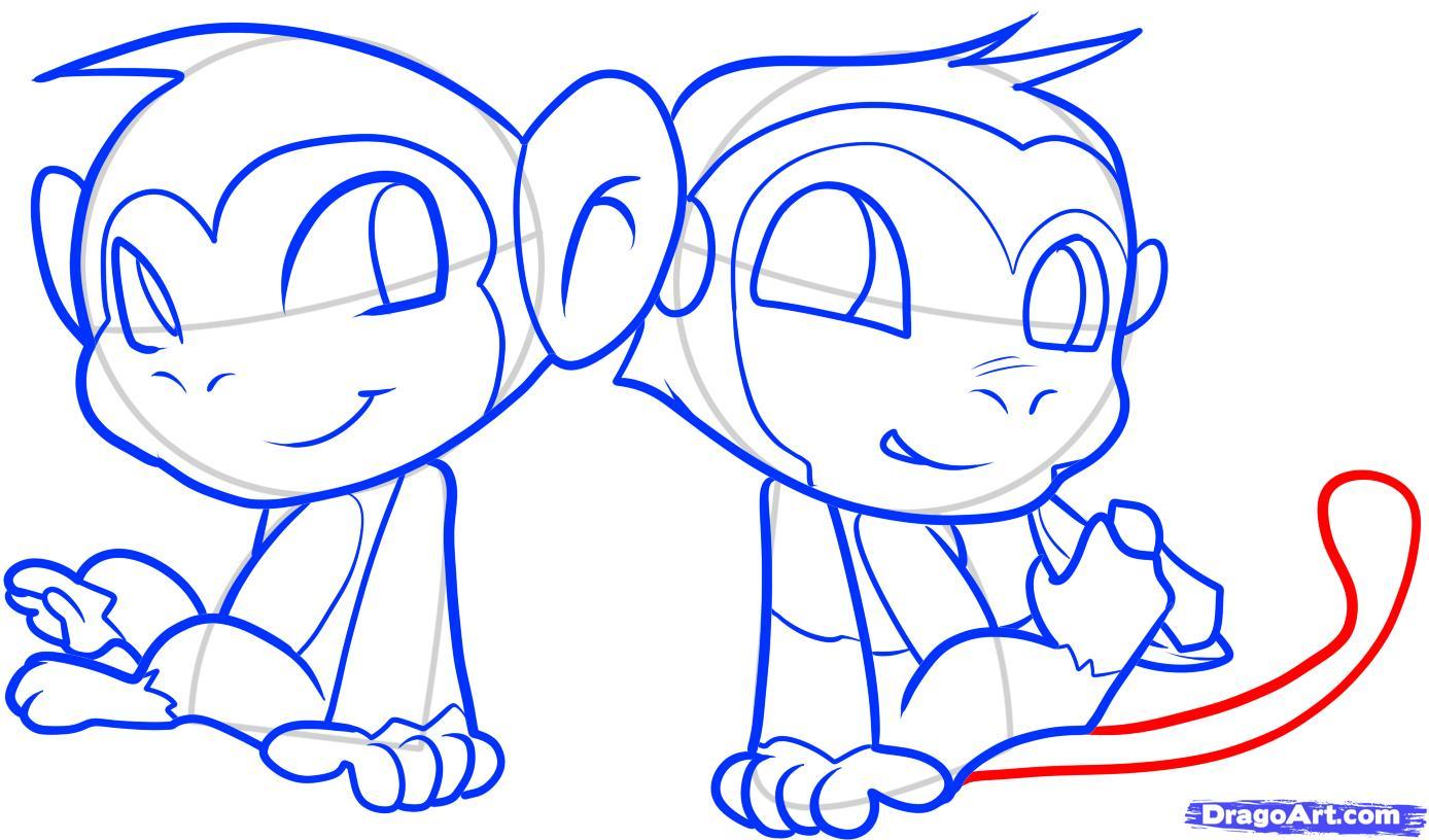 Рисуем двух маленьких обезьянок для детей - шаг 11