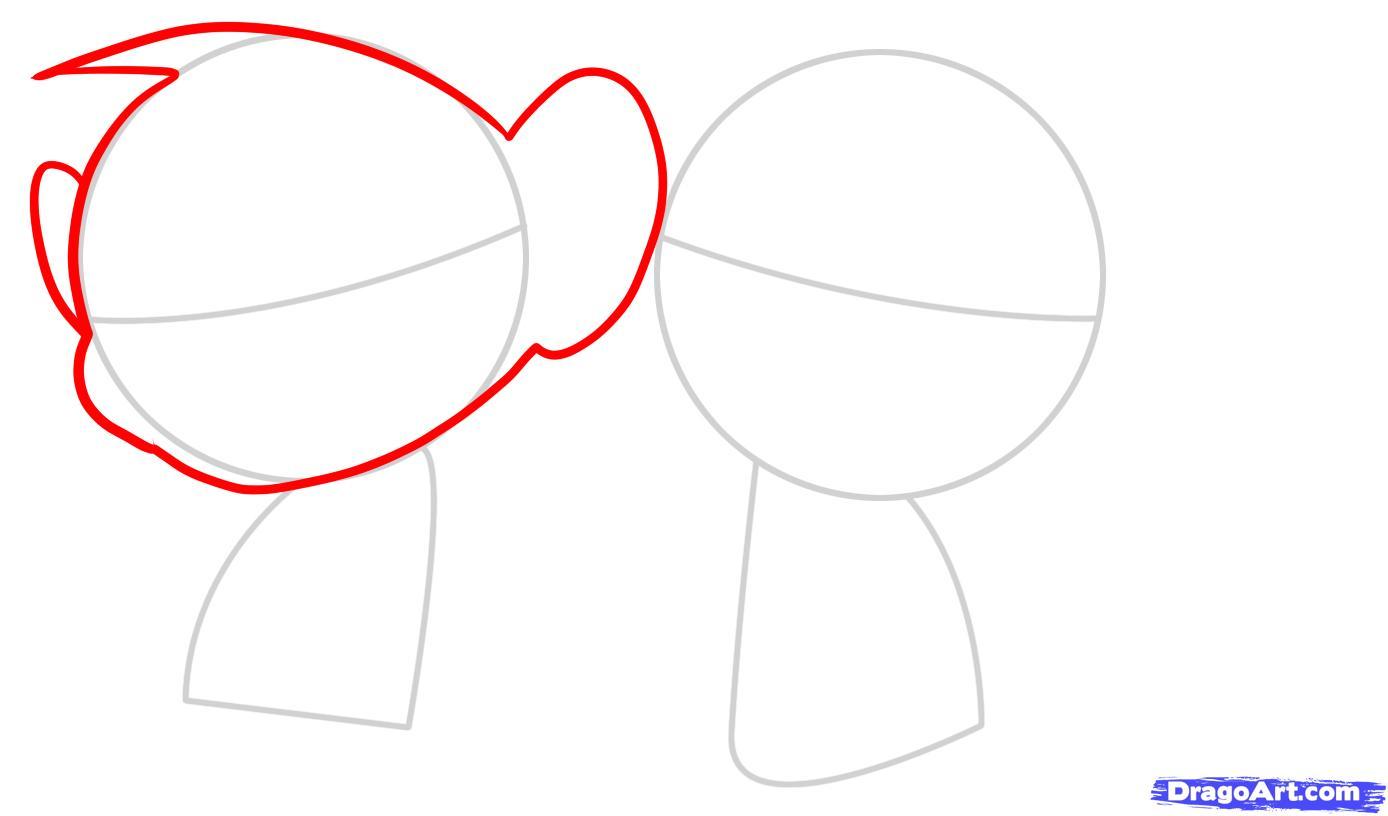Рисуем двух маленьких обезьянок для детей - шаг 2