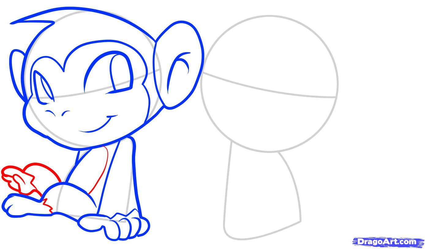Рисуем двух маленьких обезьянок для детей - шаг 6