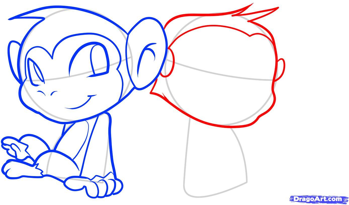 Рисуем двух маленьких обезьянок для детей - шаг 7