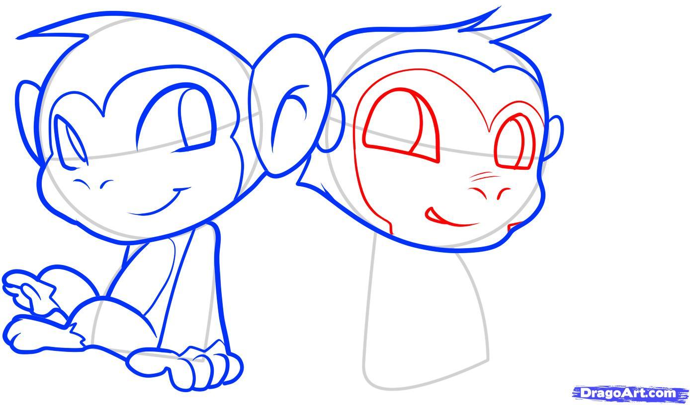 Рисуем двух маленьких обезьянок для детей - шаг 8