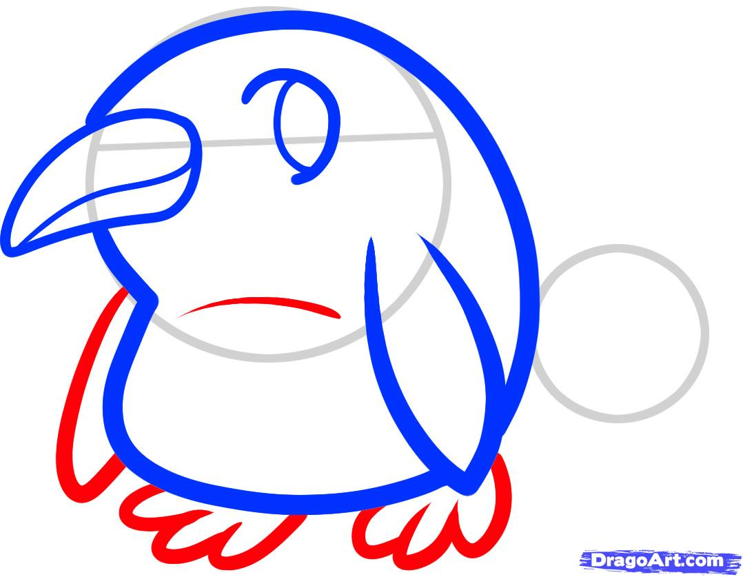 Рисуем двух маленьких пингвинов - шаг 4