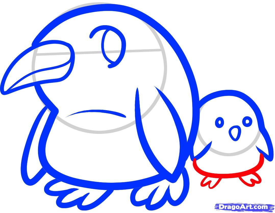 Рисуем двух маленьких пингвинов - шаг 6