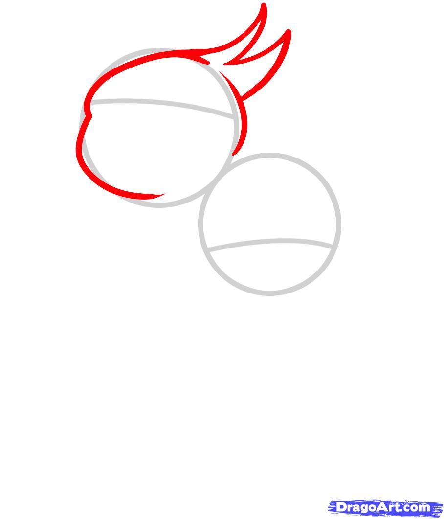 Рисуем двух маленьких попугаев ребенку - шаг 2