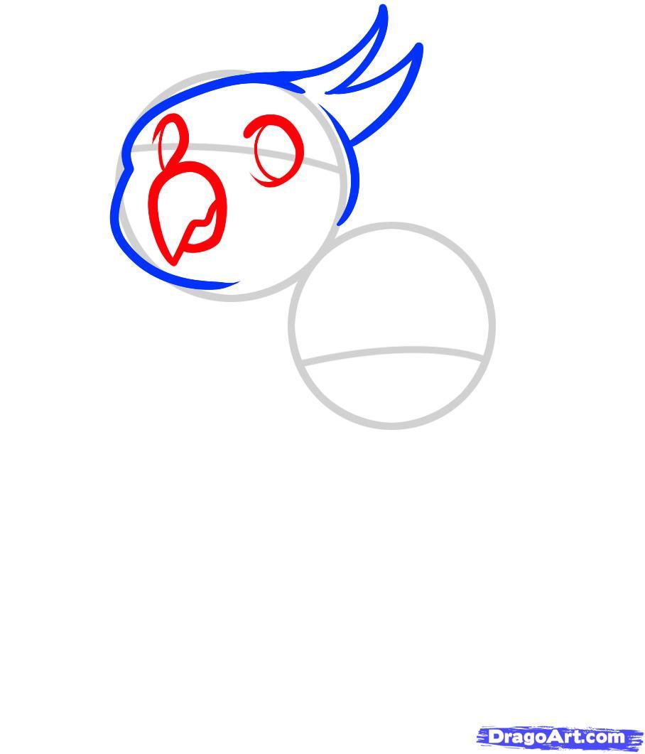 Рисуем двух маленьких попугаев ребенку - шаг 3