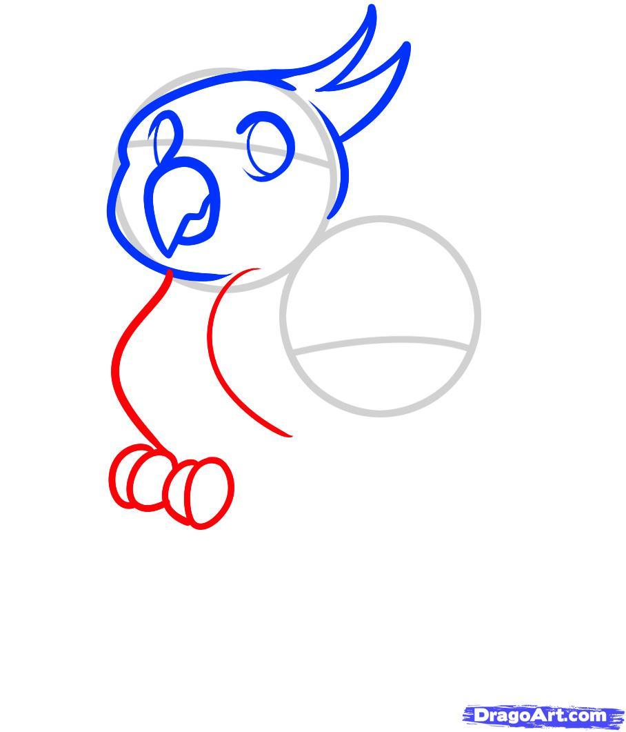 Рисуем двух маленьких попугаев ребенку - шаг 4