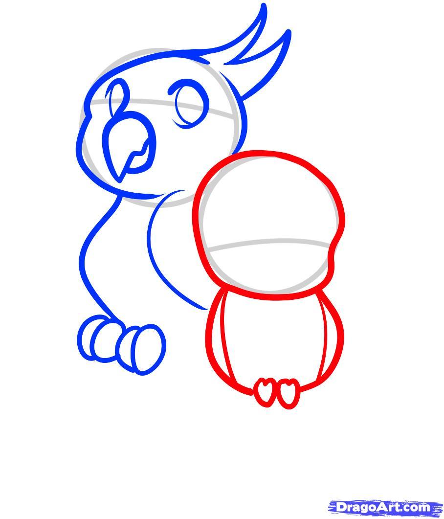 Рисуем двух маленьких попугаев ребенку - шаг 5