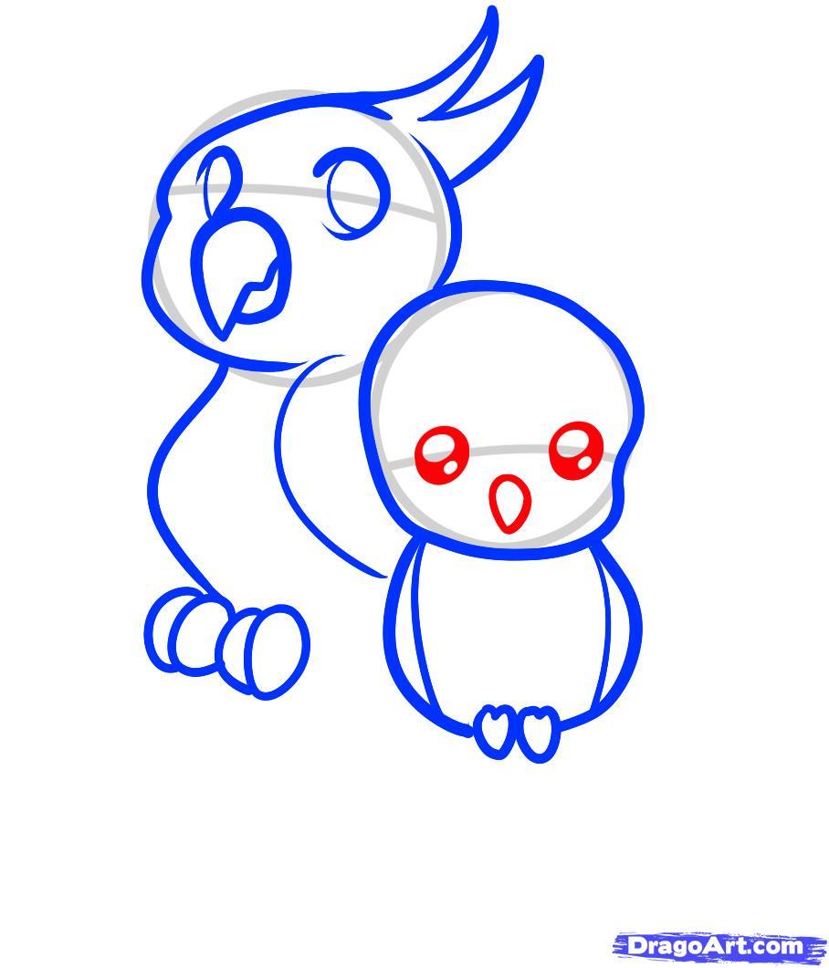 Рисуем двух маленьких попугаев ребенку - шаг 6