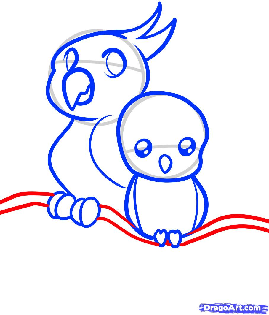 Рисуем двух маленьких попугаев ребенку - шаг 7