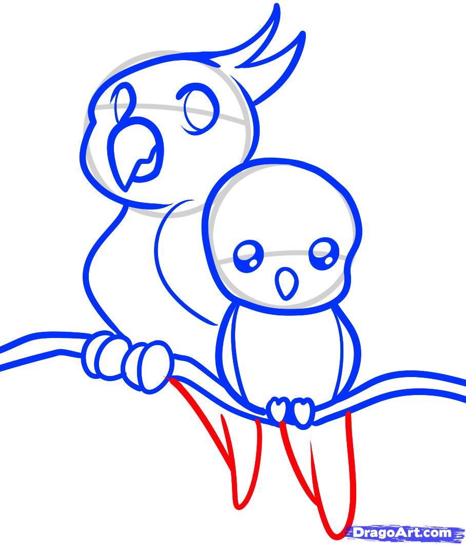 Рисуем двух маленьких попугаев ребенку - шаг 8