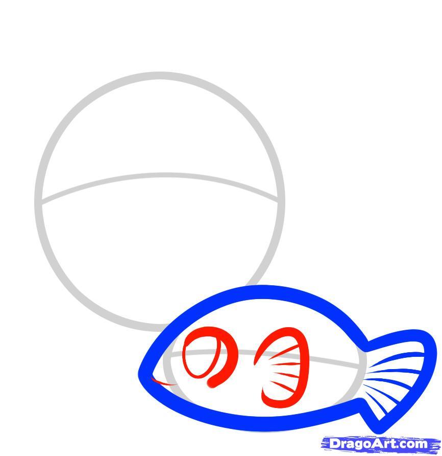 Рисуем двух рыбок ребенку - шаг 3