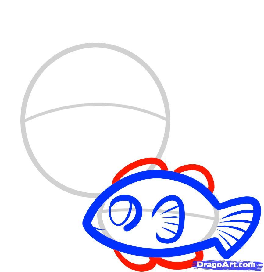 Рисуем двух рыбок ребенку - шаг 4