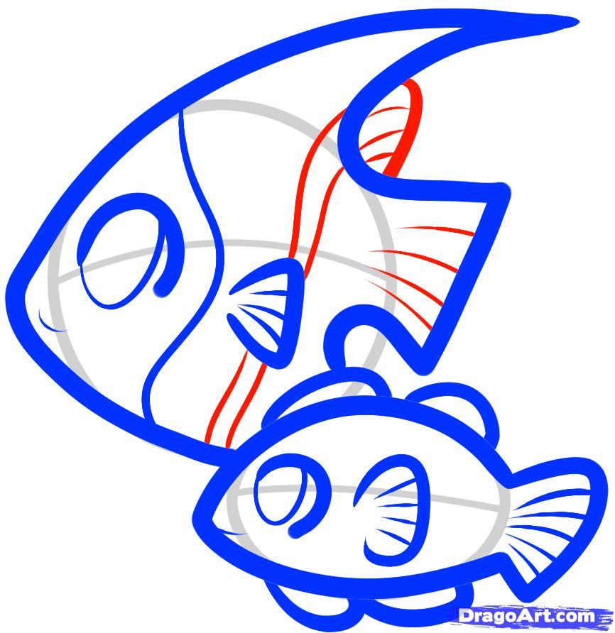Рисуем двух рыбок ребенку - шаг 7