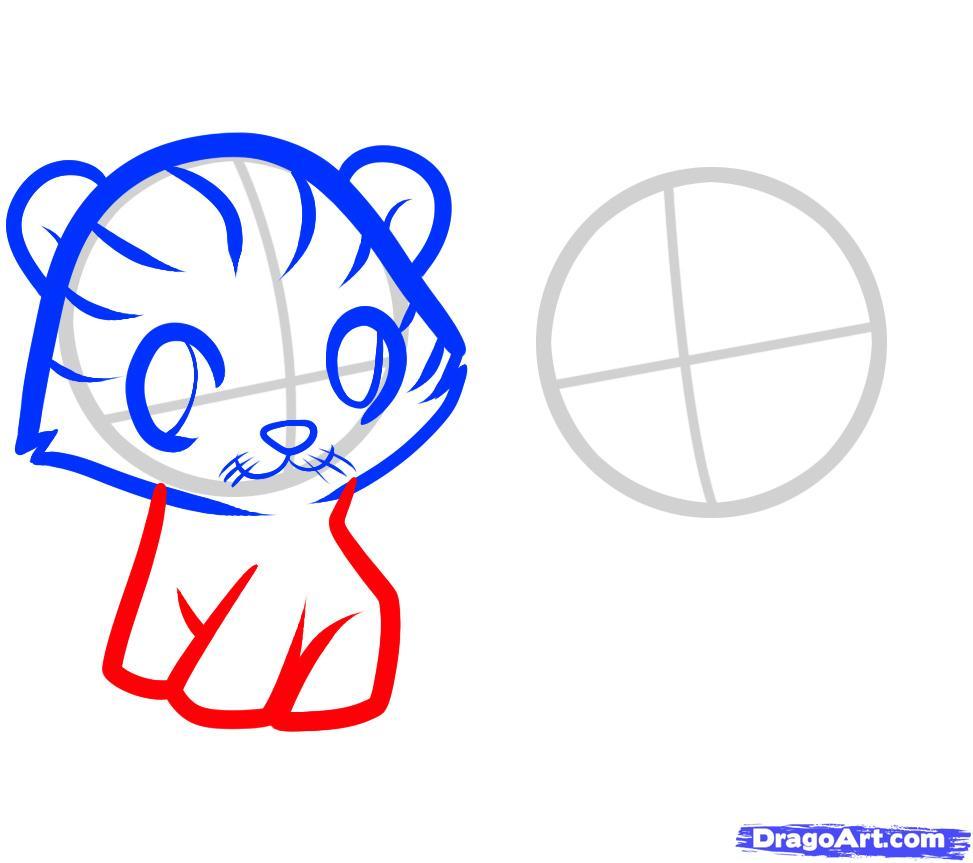 Рисуем двух тигрят ребенку - шаг 4