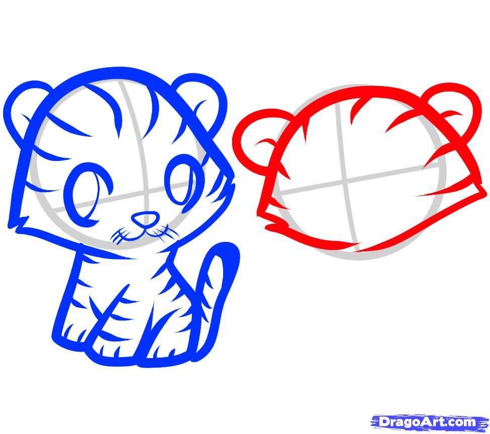 Рисуем двух тигрят ребенку - шаг 6