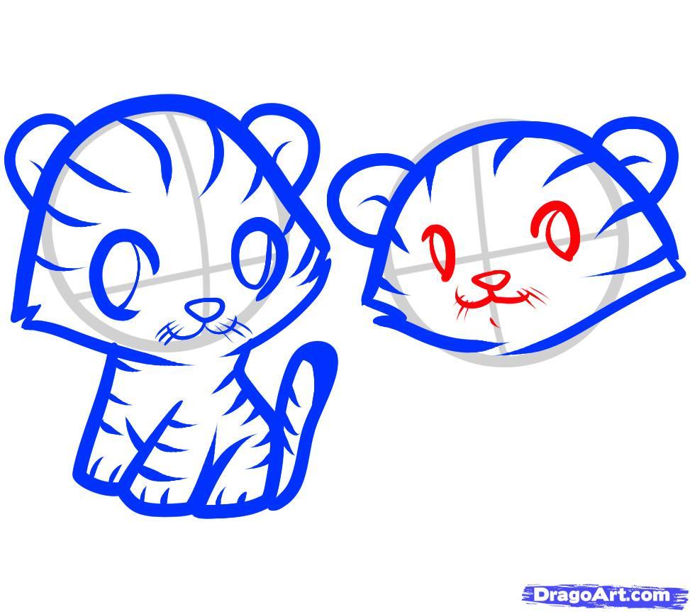 Рисуем двух тигрят ребенку - шаг 7