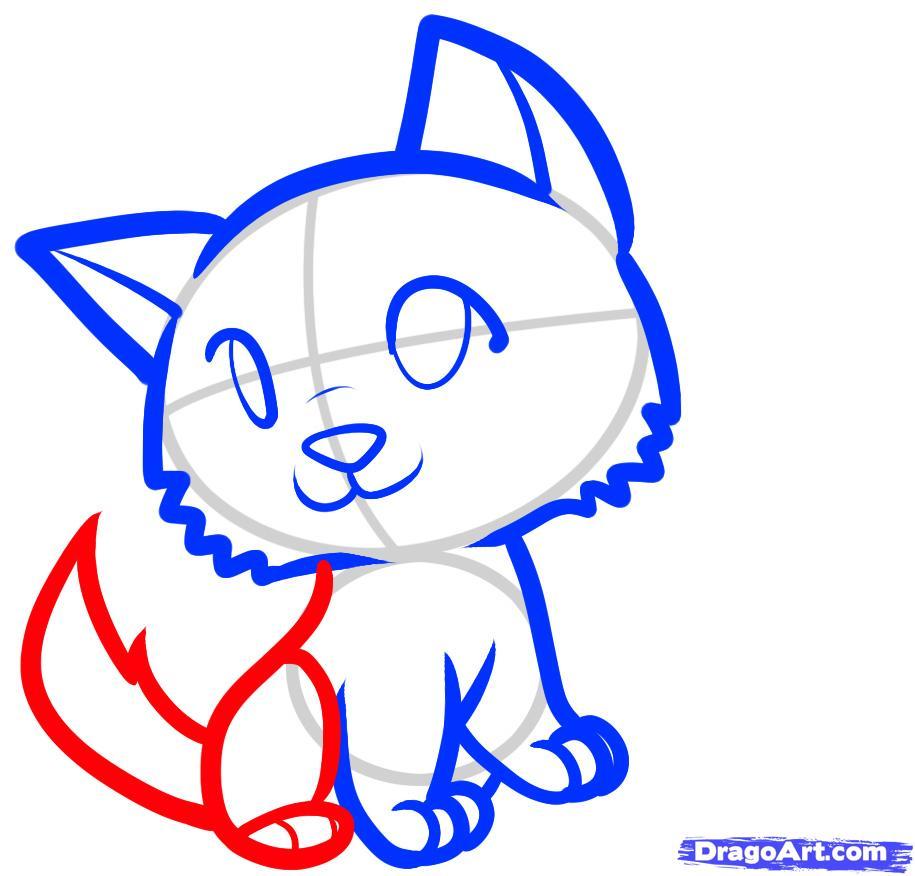 Рисуем двух Волчат ребенку - шаг 5